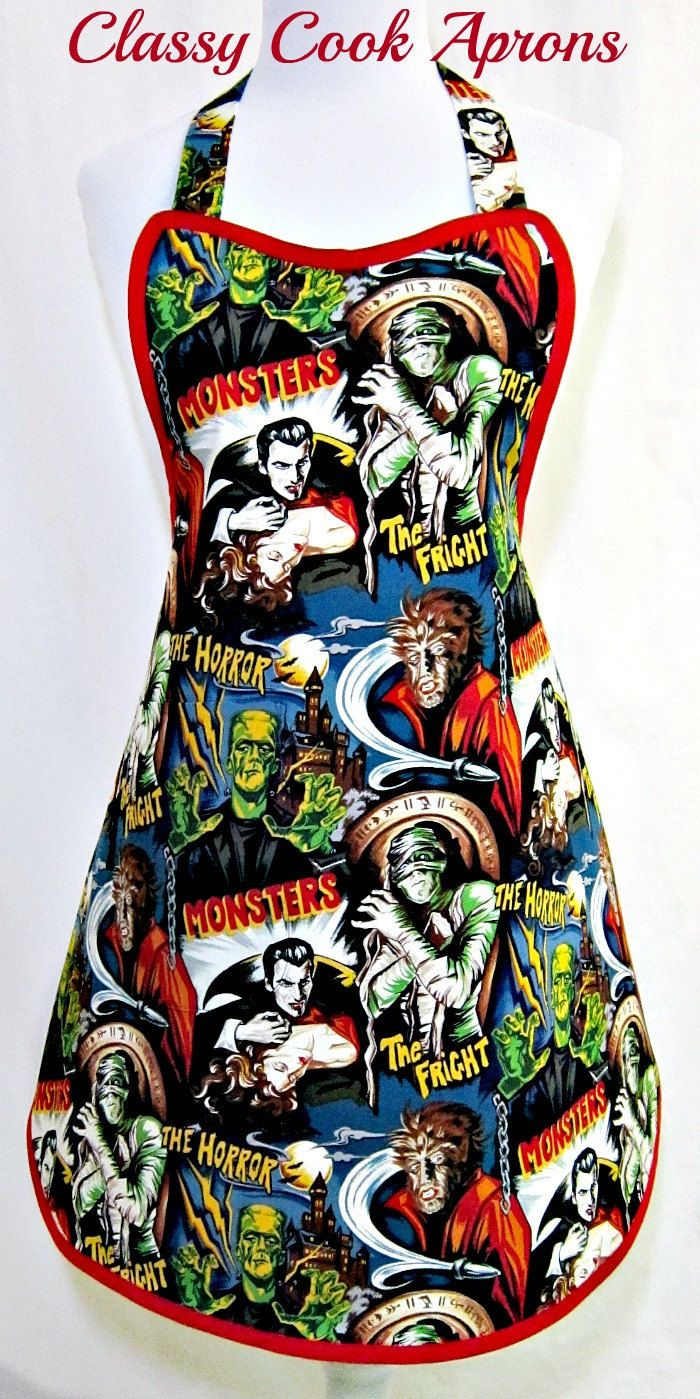 Apron Halloween the Movie MONSTERS, Trick or Treat, Spooky FUN Hostess Party Kitchen Gift. $36.50, via Etsy.