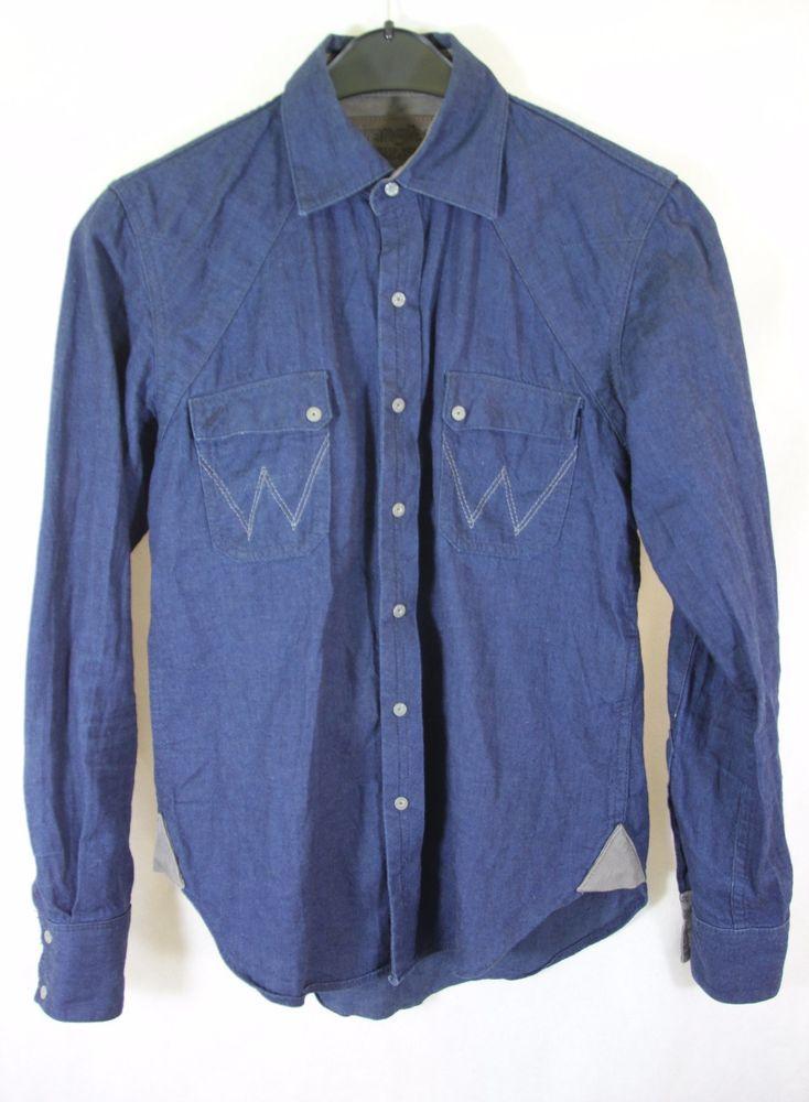 WRANGLER UTILITY SHIRT Men's Casual Blue Denim Shirt sz S Small #Wrangler #CasualShirts