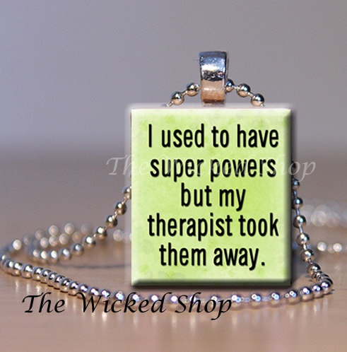 Scrabble Tile Pendant I used to have Super Powers by TheWickedShop, $8.95