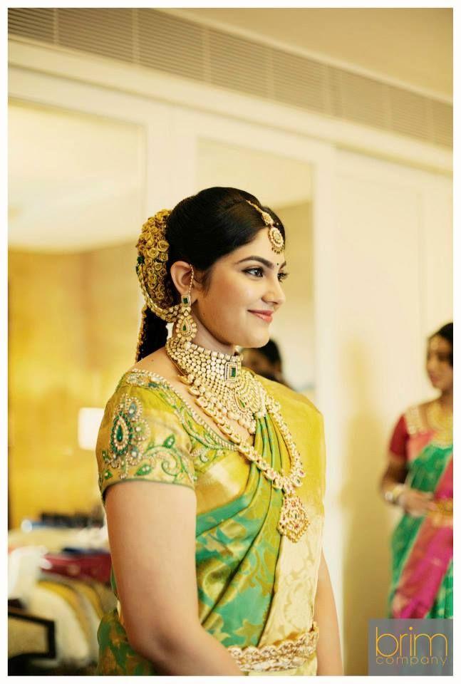 South Indian,Telugu bride. Green Kanchipuram silk sari. Temple jewelry. Braid with fresh flowers. Tamil bride. TELUGU, Hindu bride