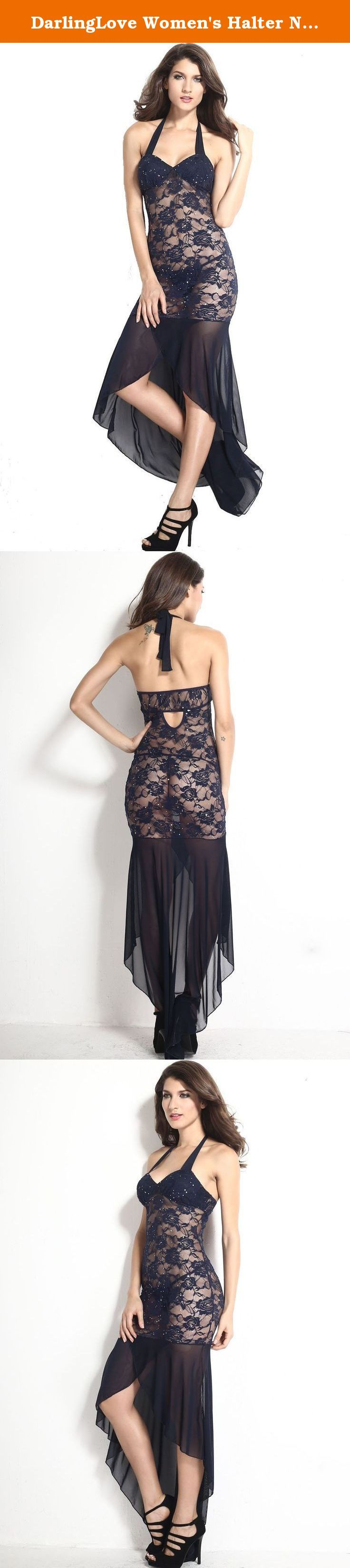 DarlingLove Women's Halter Neck Long Floral Lace Sequin Navy Sheer Lingerie Gown. About DarlingLove DarlingLove committed to providing women with sexy Halloween costume, jumpsuit, lingerie etc nearly 20 years. We creates comfortable, very cool and attractive products through constant innovation. We have more than 200 employees in concentrate on making the world's lingerie for you. Without leaving your home, you could purchase lingerie with premium quality at wholesale prices. Details Long...