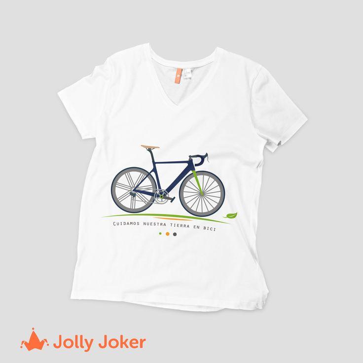 Una buena manera de cuidar la tierra, es usando la bici! Estampa tus camisetas y da a conocer buenos mensajes a las personas :) En Jolly Joker puedes diseñarla como tu quieras!