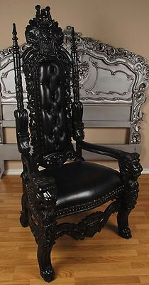 Goth: Carved Mahogany King Lion Gothic Throne Chair. Black Paint with Black Leather.
