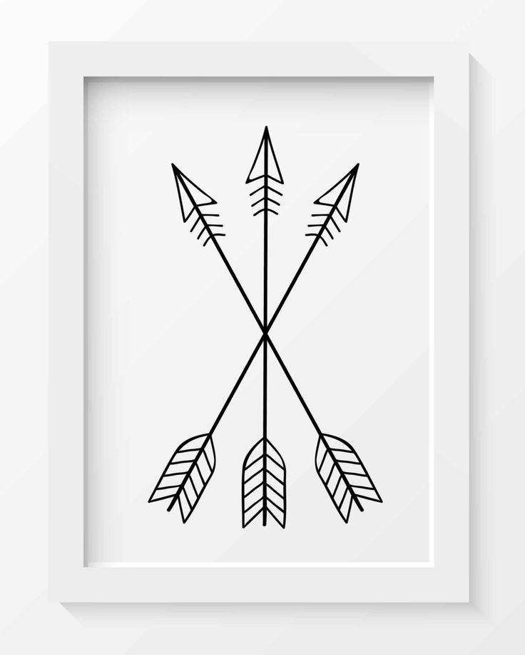 Cross Arrow Print Tribal Arrow Art Whimsical Art Prints Tribal Nursery Decor Minimalist Print Black Arrow Print Printable Home Decor
