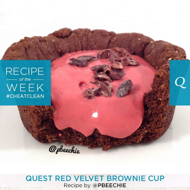 LIKE if you love red velvet! A #CheatClean treat high in protein and filled with delicacy. Quest Red Velvet Brownie Cup by Kimberly C.!