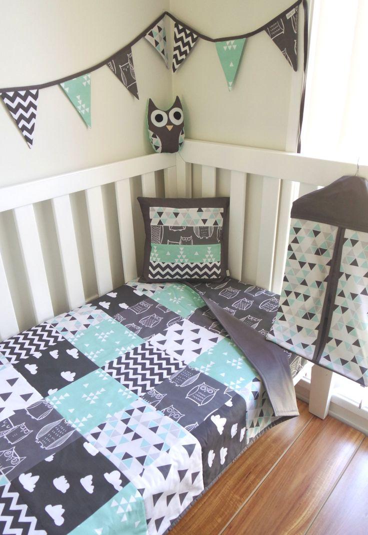 Wicker crib for sale durban - Patchwork Cot Quilt In Grey Aqua Mint And Black Nursery Set Owl Nursery