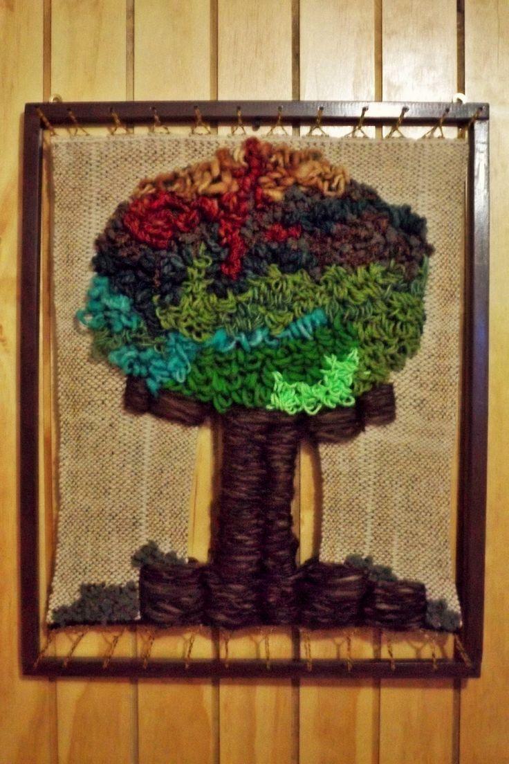 Árbol enmarcado y tejido a telar