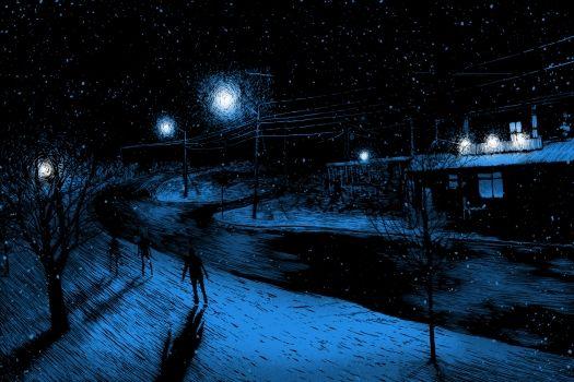 DANIEL DANGER es un ilustrador y grabador cuyo arte se encamina a la realización de dibujos impregnados de una estética nocturna y de aspecto sombrío.