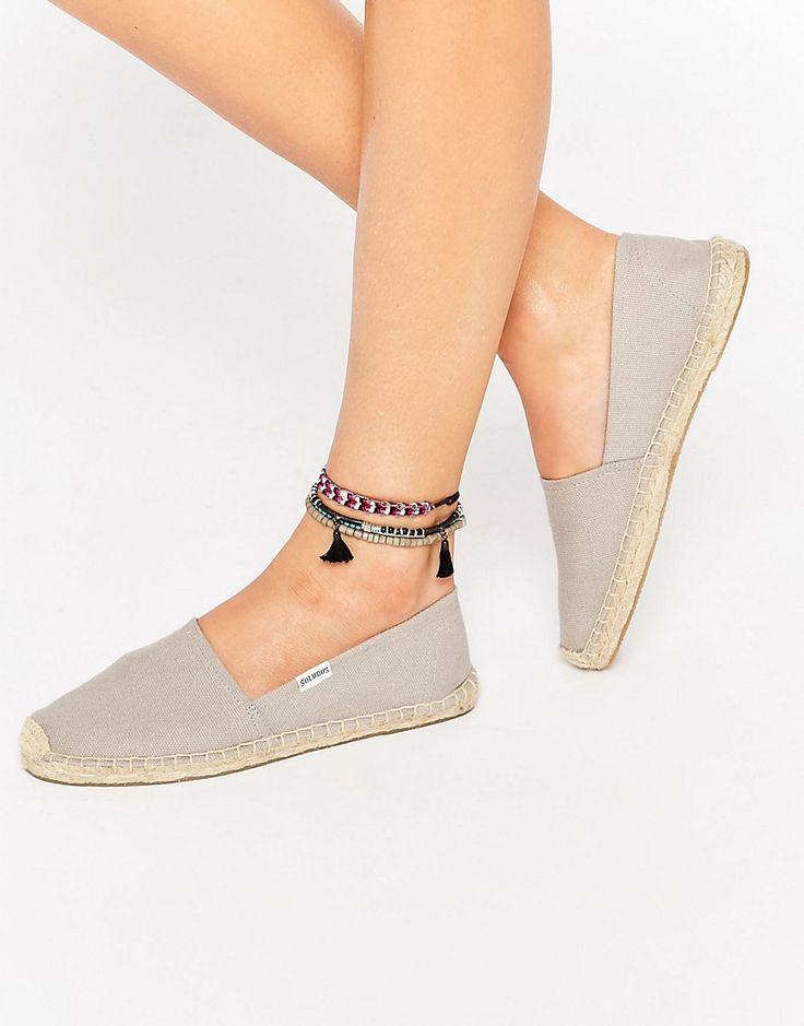 Soludos Original Canvas Dali Gray Espadrille Flat Sandals