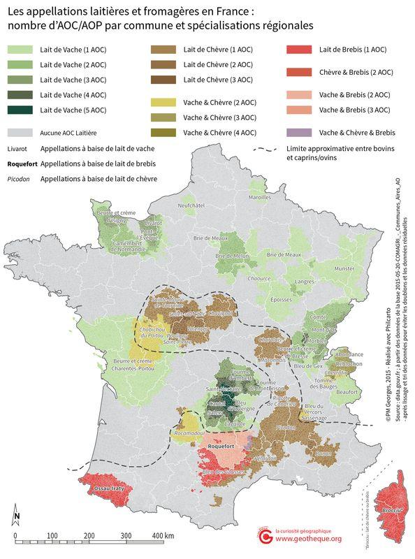 Carte de AOC Fromagères
