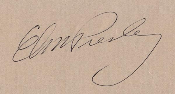 Elvis' autograph@raetherei: signed, sealed, umgehängt