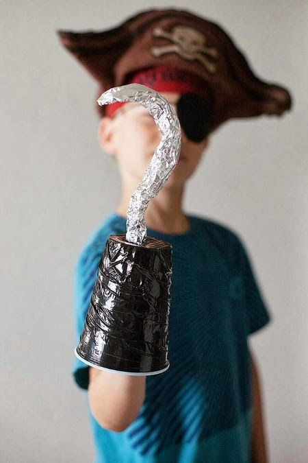 Super simple pirate hook from a cup, masking tape and foil ... plus loads more fab fun pirate activities for kids