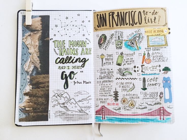"somestudy: ""journal pages from this week — a quote by john muir, things to do whenever i'm in san francisco, songs that are on my summer playlist, a list of some of my favorite albums, a list of nice words, and a page inspired by the raven cycle this..."