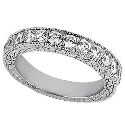 Antique Style Pave Set Wedding Ring Anniversary Band Platinum (1.00ct ...