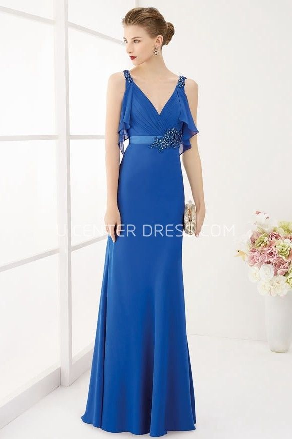 $124.49-Sexy V Neck Empire Crystal Satin Sash Long Blue V Neck Evening Gown With Removable Wrap Top and V Back. http://www.ucenterdress.com/v-neck-empire-crystal-satin-sash-long-prom-dress-with-removable-wrap-top-pMK_301433.html.  Shop for affordable evening gowns, prom dresses, white dresses, party dresses for women, little black dresses, long dresses, casual dresses, designer dresses, occasion dresses, formal gowns, cocktail dresses . We have great 2016 Evening Gowns on sale now. #evening…