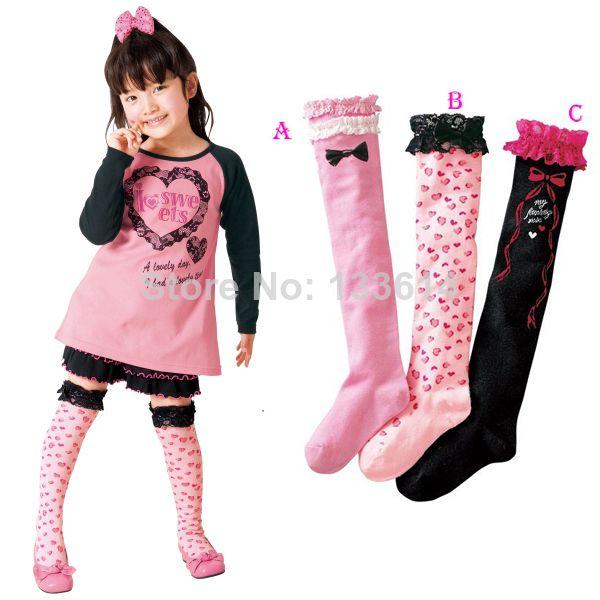 C$ 2.23 - 2.28 Pas cher Girls Kids Cotton Lace Letter Heart Print Socks School Above Knee Socks 3 8Y 3 Colors, Acheter  Chaussettes de qualité directement des fournisseurs de Chine:  Matériel: dentelle.  Coton   Condition: tout neuf dans l'original         Taille:     Longueur: 40-57 cm/15.74-22.
