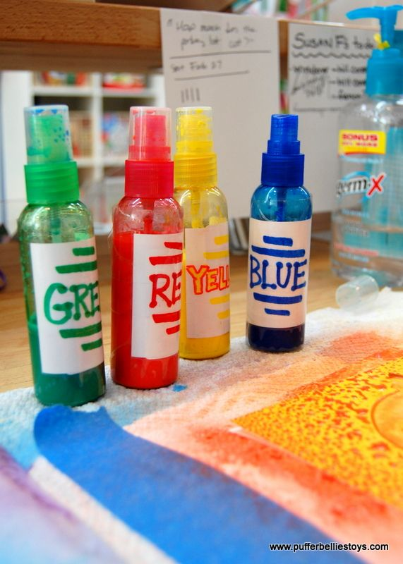 Today at Crafternoon, we made watercolor spray paint art. We were inspired by this post at Artful Adventures. We started with watercolors in tubes (found at our local art-supply store), which we di…