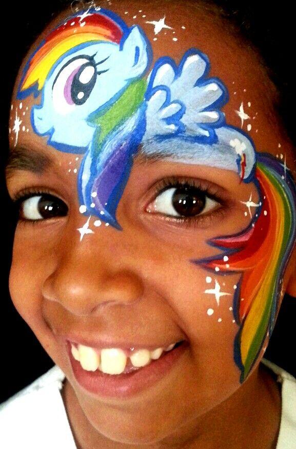 Rainbow dash MLP face painting!