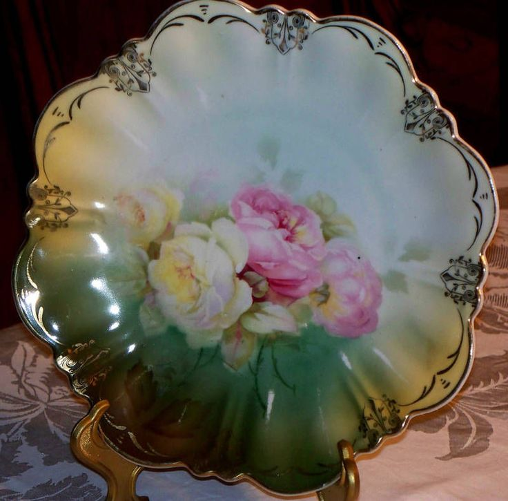 """Antique Silesia Germany 9 3/4"""" Plate Hand Painted Pink&Yellow Roses Scallop Edge picclick.com"""
