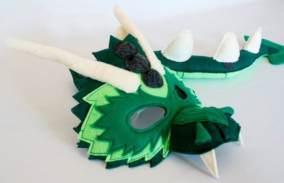 Bruce the Green Dragon Mask and Tail for Pretend by HuntingFaeries, $45.00
