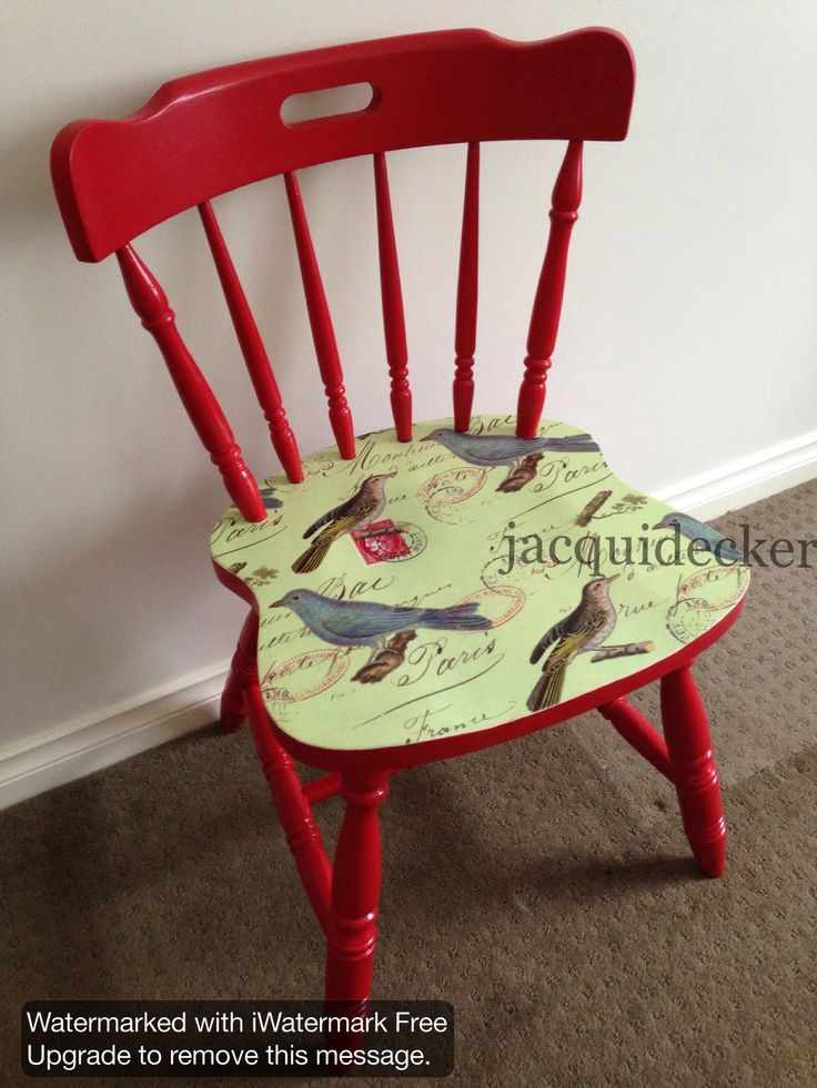 Decoupage cottage dining chair. Red green French provincial print birds.