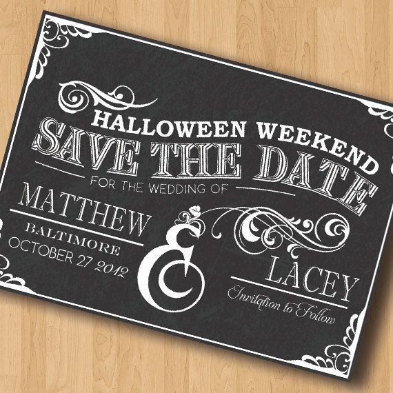 Halloween Weekend Save the Date Design by JessicaStrayerDesign