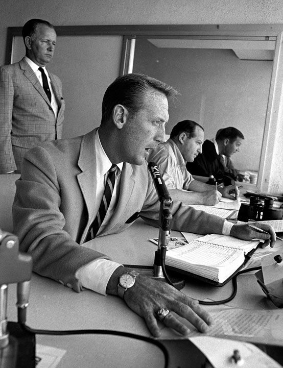 Vin Scully broadcasts a Dodgers game in April 1964