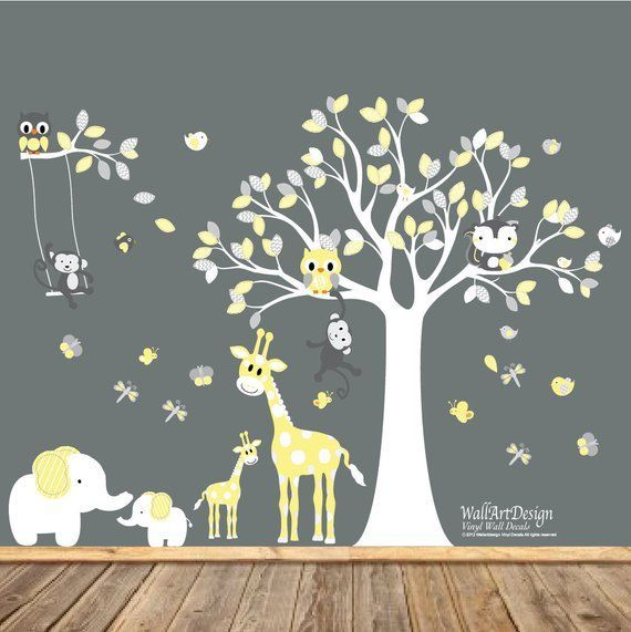 Peel And Stick Wall Decals Yellow And Grey Nursery Removable