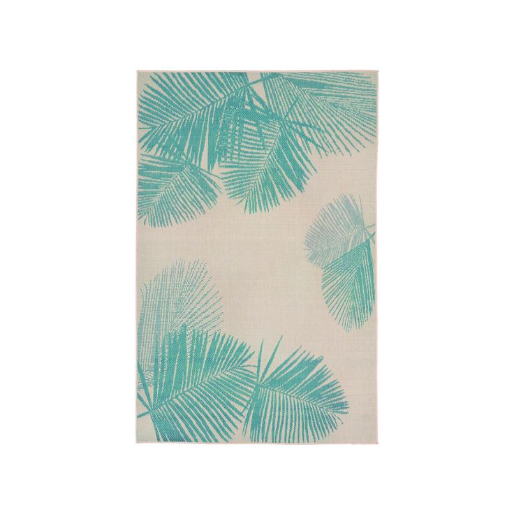 """Terrace Indoor/Outdoor Palm Turquoise Rug 7'10""""X9'10"""" Natural - Liora Manne, Beige"""