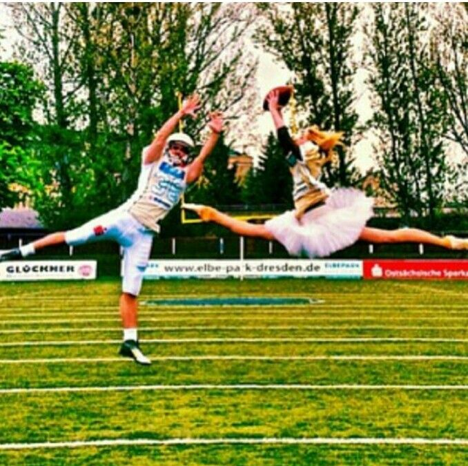 Ballet and american football...which one's more impressive, hmmmm? I want to try this so badly!