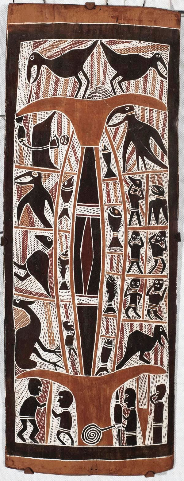 Narritjin Maymuru ~ Figures, birds, fish, c.1966