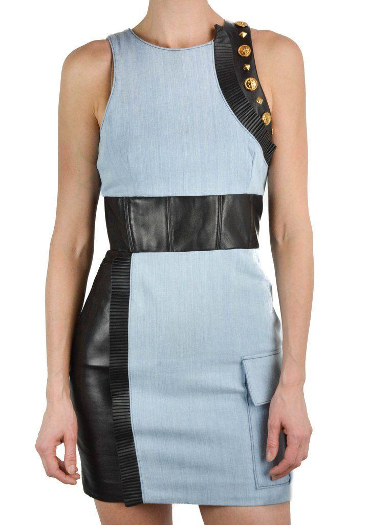 b174f576b3 Fausto Puglisi Leather Embellished Denim Dress
