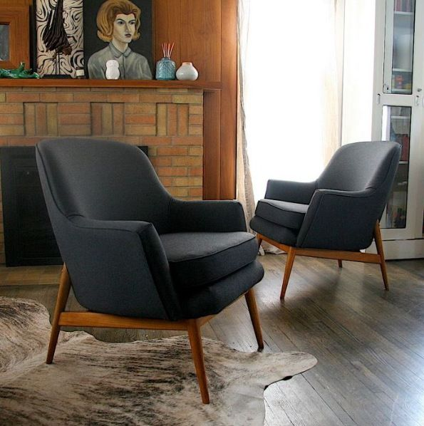 Rollins Modern Arm Chair Blue: Upholstered Vintage Chairs...frame Can Be More Harsh And