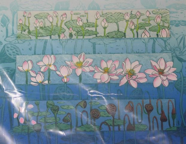 Master Australian printmaker, Anna Curtis. Each colour is cut from a different lino block.