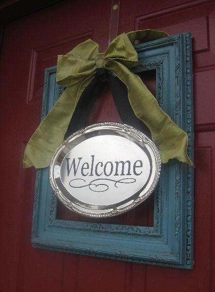 wreath alternative front door decor--frame welcome sign from blue cricket design