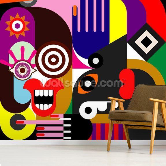 Abstract Women Wall Mural Wallsauce Uk Mural Art Abstract Wallpaper Wall Painting