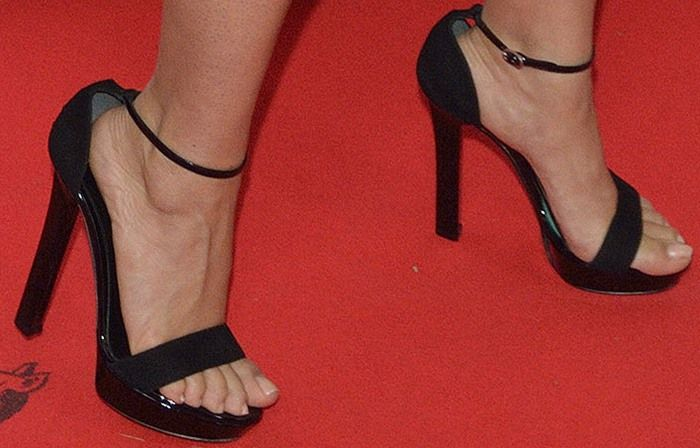 Salma Hayek Flaunts Cleavage and Feet in Ankle-Strap Sandals