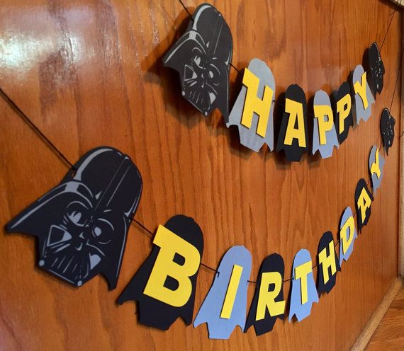 Darth Vader Banner-Star guerras cumpleaños-Star Wars-Star Wars by CraftiAbi   Etsy