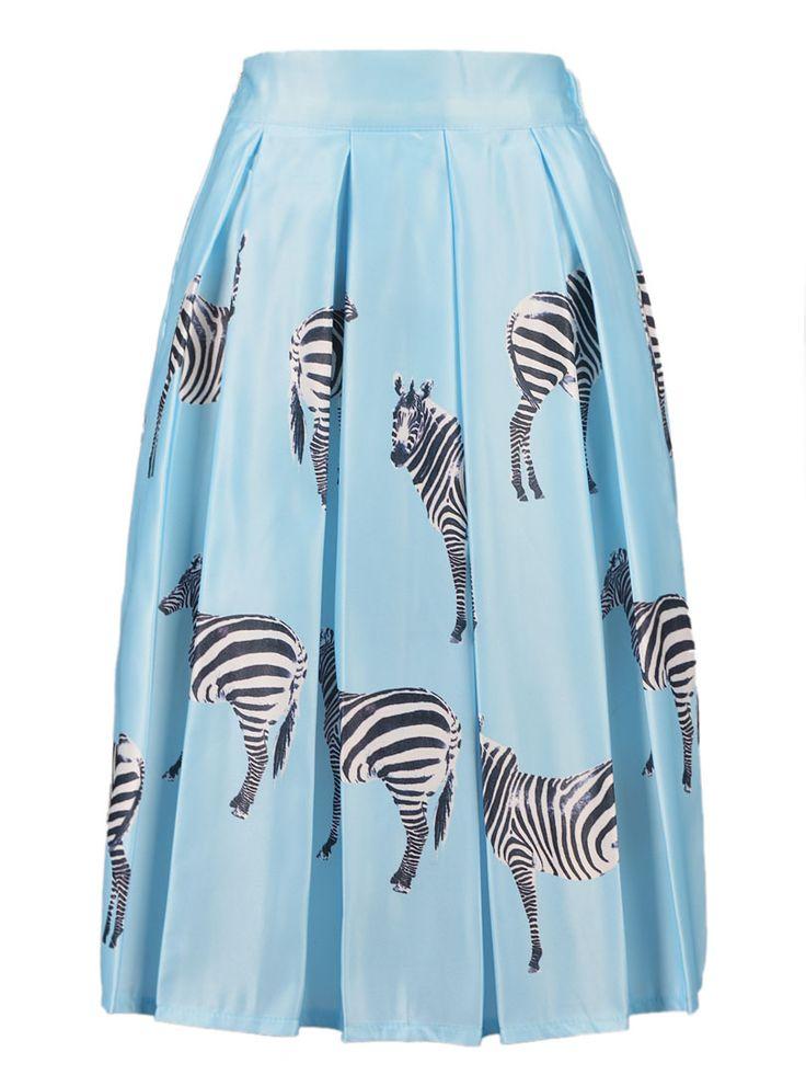 Albastru Zebra Print talie înaltă Mid fusta