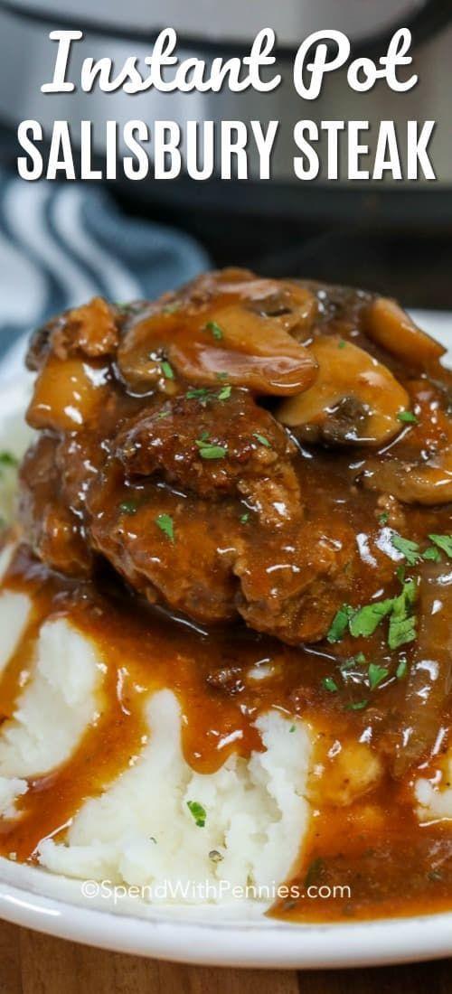 Instant Pot Salisbury Steak ist ein Paradies für Hausmannskost. Es ist perfekt über püriert po …