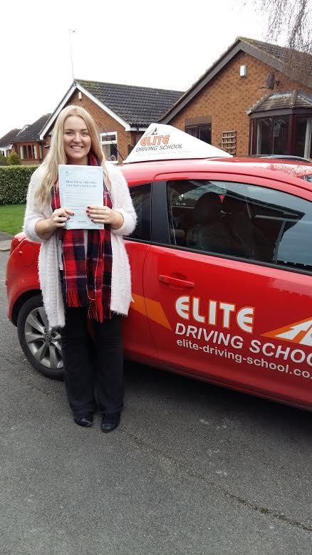 Congratulations to Lucy Cottom on passing her driving test at the FIRST attempt on the 21st of December 2015. All the best from Driving Instructor Jeannette Pickering and the Team at Elite Driving School