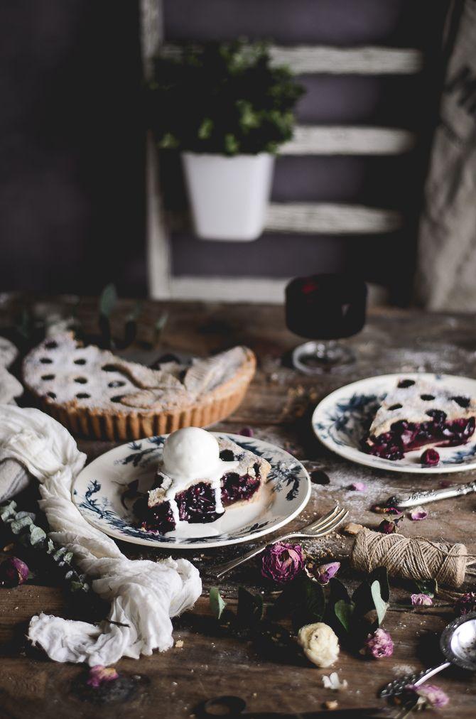 Rhubarb, raspberry & wild blueberry pie with ice cream