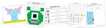 Monsters Kindergarten Extension Pack  (includes 100 chart art, skip counting puzzles, graphing, tracing, and math within 10) #kindergarten, #hs, #math, #homeschool