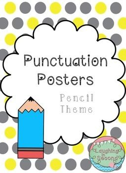 Punctuation themed punctuation posters to use in a writing center, bulletin board or other classroom decor. Includes posters for period, exclamation point, question mark, apostrophe, comma, colon, hyphen, semi-colon, parenthesis and quotation marks.Each poster gives a picture of the punctuation, an explanation and an example.***************************************************************************** Check out the other pencil themed items in my store!Pencil Themed Behavior Clip Chart…