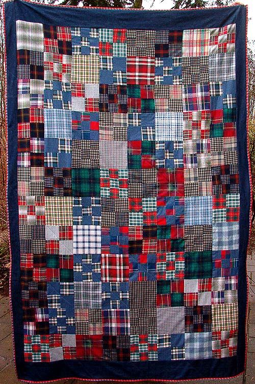 Nine patch plaid quilt with denim, made with recycled clothing, by Hanne Hector Schroeder (Denmark)