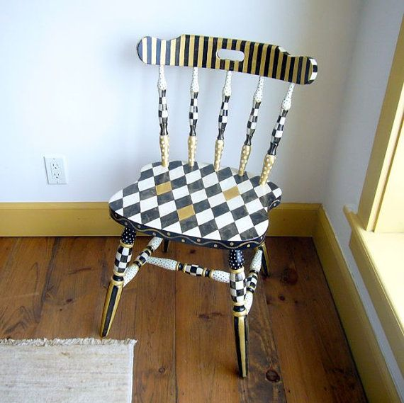 Hand Painted Chair in Black and White and Gold 1 by mfeganart, $425.00