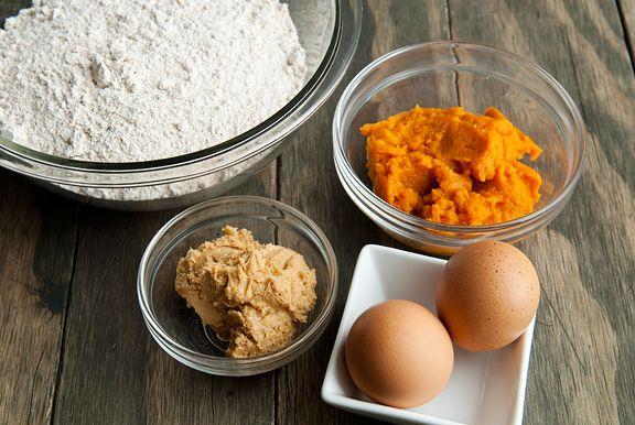 pumpkin peanut butter dog treats. use brown rice flour to make it healthier.