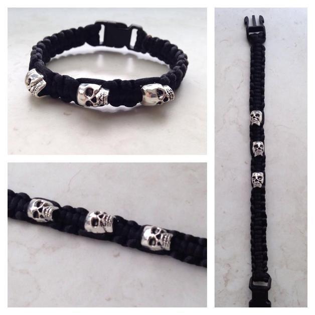Flechtarmbänder - elfenwerk Armband Totenkopf (Wunschlänge) - ein Designerstück von elfenwerkLEV bei DaWanda