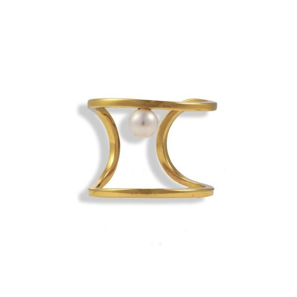 Gold Plated Silver Ring With A Pearl - Anthos Crafts - 1