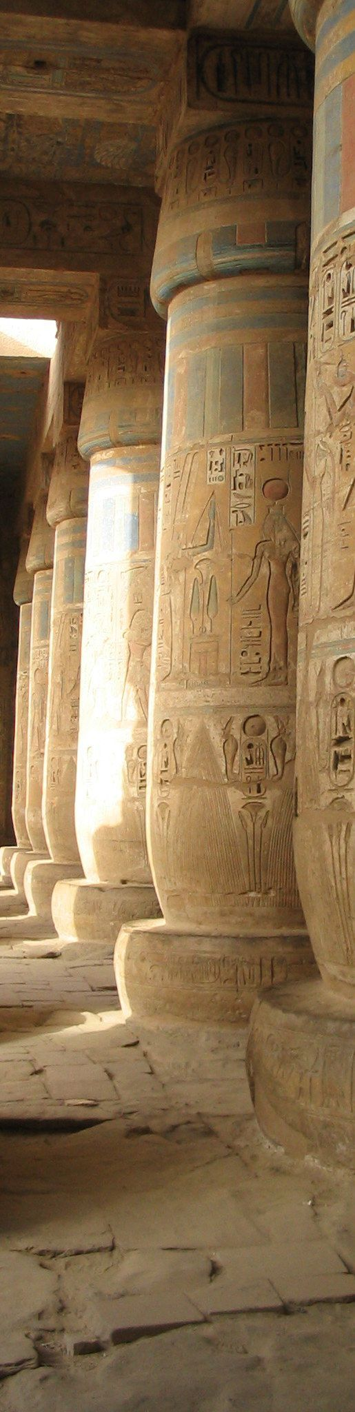 Medinet Habu Temple pigmented columns of the peristyle hall. Luxor, Egypt.